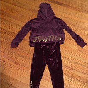 Girls burgundy velour sweat suit